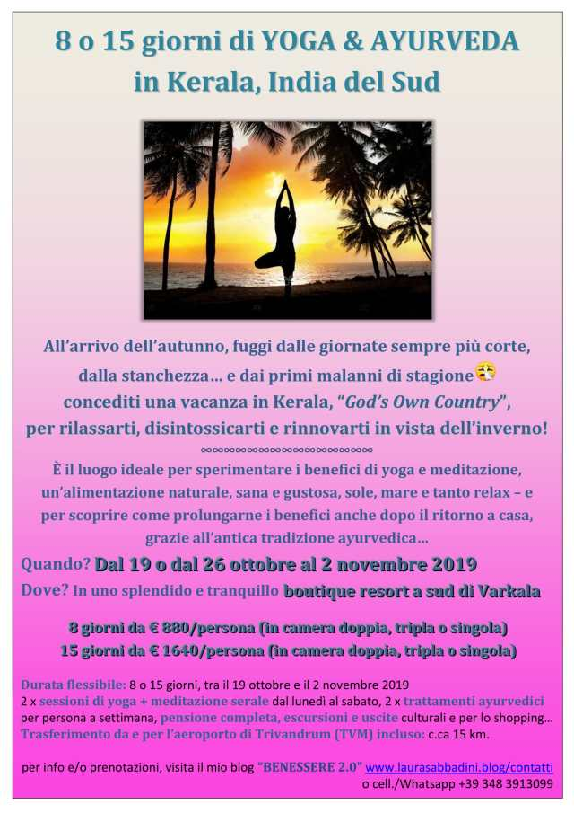 8 15 giorni YOGA & MEDITAZIONE in Kerala Ottobre 2019