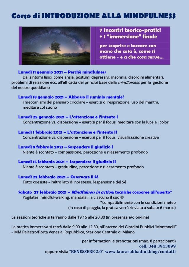 LOCANDINA Corso di introduzione alla Mindfulness - inverno 2021